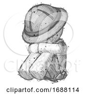 Sketch Explorer Ranger Man Sitting With Head Down Facing Angle Left
