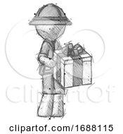 Sketch Explorer Ranger Man Giving A Present