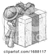 Sketch Explorer Ranger Man Leaning On Gift With Bow Angle View