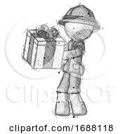 Sketch Explorer Ranger Man Presenting A Present With Large Bow On It