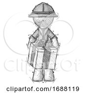 Sketch Explorer Ranger Man Gifting Present With Large Bow Front View