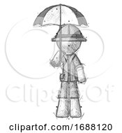 Sketch Explorer Ranger Man Holding Umbrella