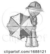 Sketch Explorer Ranger Man Holding Rainbow Umbrella Out To Viewer