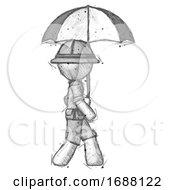 Sketch Explorer Ranger Man Woman Walking With Umbrella