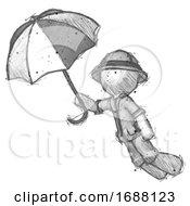 Sketch Explorer Ranger Man Flying With Umbrella