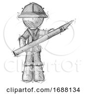 Sketch Explorer Ranger Man Holding Large Scalpel