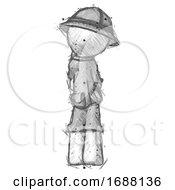 Sketch Explorer Ranger Man Thinking Wondering Or Pondering Rear View