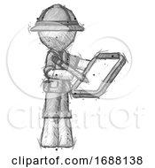 Sketch Explorer Ranger Man Using Clipboard And Pencil