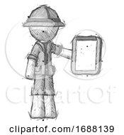 Sketch Explorer Ranger Man Showing Clipboard To Viewer