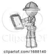 Sketch Explorer Ranger Man Reviewing Stuff On Clipboard