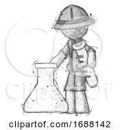 Sketch Explorer Ranger Man Holding Test Tube Beside Beaker Or Flask