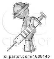 Sketch Explorer Ranger Man Using Syringe Giving Injection