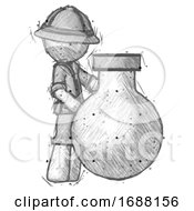 Sketch Explorer Ranger Man Standing Beside Large Round Flask Or Beaker