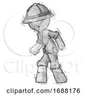 Sketch Explorer Ranger Man Suspense Action Pose Facing Left