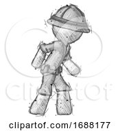Sketch Explorer Ranger Man Suspense Action Pose Facing Right