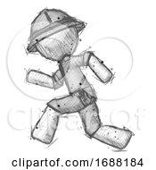 Poster, Art Print Of Sketch Explorer Ranger Man Running Fast Left