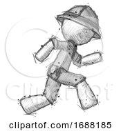 Poster, Art Print Of Sketch Explorer Ranger Man Running Fast Right
