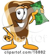 Meat Beef Steak Mascot Cartoon Character Waving A Green Dollar Bill