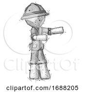 Sketch Explorer Ranger Man Presenting Something To His Left