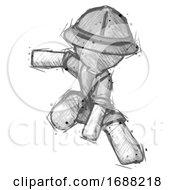Sketch Explorer Ranger Man Action Hero Jump Pose