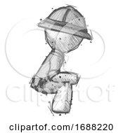 Sketch Explorer Ranger Man Squatting Facing Right