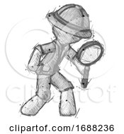 Sketch Explorer Ranger Man Inspecting With Large Magnifying Glass Right