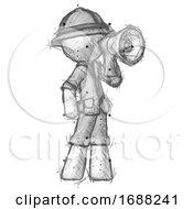 Sketch Explorer Ranger Man Shouting Into Megaphone Bullhorn Facing Right