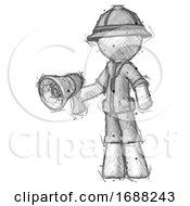 Sketch Explorer Ranger Man Holding Megaphone Bullhorn Facing Right
