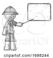 Sketch Explorer Ranger Man Giving Presentation In Front Of Dry Erase Board