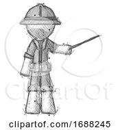 Poster, Art Print Of Sketch Explorer Ranger Man Teacher Or Conductor With Stick Or Baton Directing