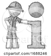 Sketch Explorer Ranger Man With Info Symbol Leaning Up Against It