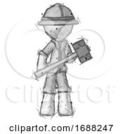 Sketch Explorer Ranger Man With Sledgehammer Standing Ready To Work Or Defend