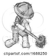 Sketch Explorer Ranger Man Hitting With Sledgehammer Or Smashing Something At Angle