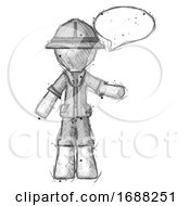 Sketch Explorer Ranger Man With Word Bubble Talking Chat Icon