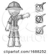 Sketch Explorer Ranger Man Standing By List Of Checkmarks