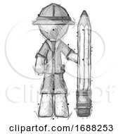 Sketch Explorer Ranger Man With Large Pencil Standing Ready To Write