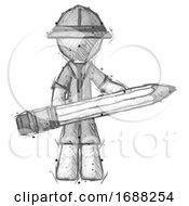 Sketch Explorer Ranger Man Writer Or Blogger Holding Large Pencil