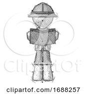 Poster, Art Print Of Sketch Explorer Ranger Man Reading Book While Standing Up Facing Viewer