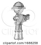 Poster, Art Print Of Sketch Explorer Ranger Man Reading Book While Standing Up Facing Away