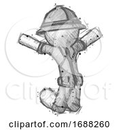 Sketch Explorer Ranger Man Jumping Or Kneeling With Gladness