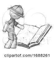 Poster, Art Print Of Sketch Explorer Ranger Man Reading Big Book While Standing Beside It