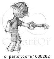 Sketch Explorer Ranger Man With Big Key Of Gold Opening Something