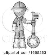 Sketch Explorer Ranger Man Holding Key Made Of Gold