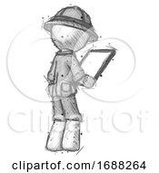 Sketch Explorer Ranger Man Looking At Tablet Device Computer Facing Away