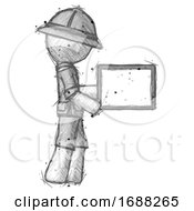 Sketch Explorer Ranger Man Show Tablet Device Computer To Viewer Blank Area