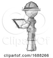 Sketch Explorer Ranger Man Looking At Tablet Device Computer With Back To Viewer