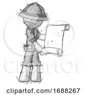 Sketch Explorer Ranger Man Holding Blueprints Or Scroll