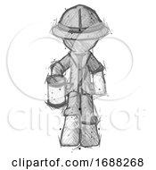 Sketch Explorer Ranger Man Begger Holding Can Begging Or Asking For Charity