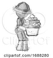Sketch Explorer Ranger Man Holding Large Cupcake Ready To Eat Or Serve