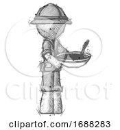 Sketch Explorer Ranger Man Holding Noodles Offering To Viewer